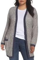 Caslon Plus Size Women's Textured Open Front Cardigan