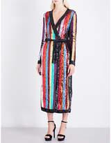 ATTICO Striped sequinned wrap dress