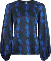 Phoebe Grace Georgie Balloon Sleeve Top in Blue Leaf Print
