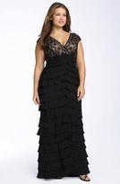 Adrianna Papell Lace & Shutter Pleat Gown (Plus Size)