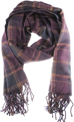 Glamour Girlz Warm Winter Extra Big Scarf Shawl Pashmina (Dark Plum Small Squares)