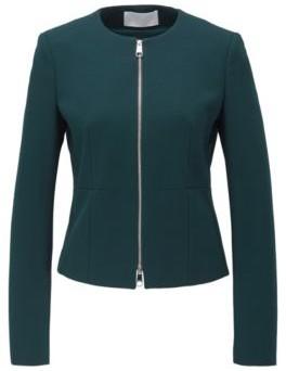 BOSS Collarless regular-fit jacket in stretch jersey