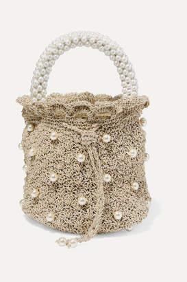 BEIGE Suryo - Bucket Of Shimmer Faux Pearl-embellished Metallic Crocheted Tote