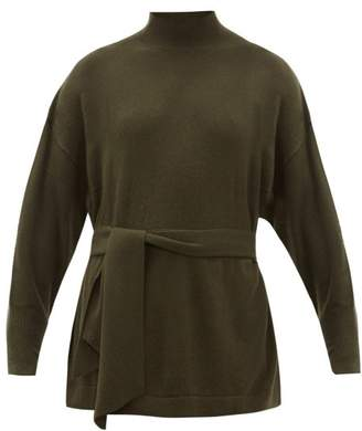 Zimmermann Espionage Belted Wool-blend Sweater - Womens - Dark Green