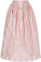 Rochas Floral Eyelet Midi Skirt