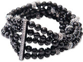 Lauren Ralph Lauren Hematite-Tone Hide and Chic Beaded Bracelet