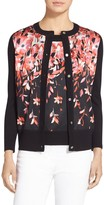 St. John Black Flamingo Degrade Floral Print Cardigan