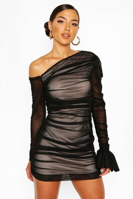 boohoo One Shoulder Ruched Mesh Dress