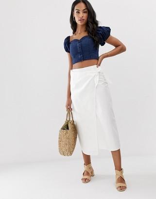 Asos Design DESIGN denim wrap tie front midi skirt in off white