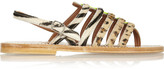K Jacques St Tropez Calf hair and neon patent-leather sandals