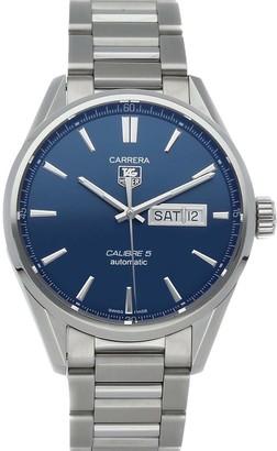Tag Heuer Blue Stainless Steel Carrera Calibre 5 Day-Date WAR201E. BA0723 Men's Wristwatch 41 MM