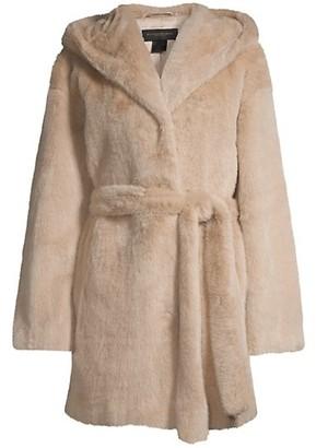 Donna Karan Faux-Fur Belted Coat