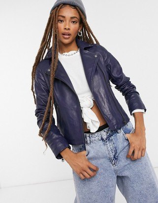 Muu Baa Muubaa classic leather biker jacket in navy