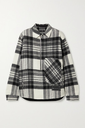 we11done Oversized Appliqued Checked Wool Jacket - Gray