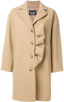 Moschino ruffle detail single breasted coat