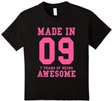 Kids 7th Birthday Gift T-Shirt Made In 2009 Awesome Pink