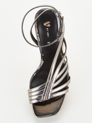 Very Square Toe Mid Strappy Sandal - Pewter