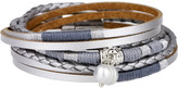 Saachi Style Style Women's Bracelets Grey - Gray Metallic Glory Wrap Leather Bracelet