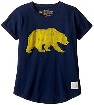 Original Retro Brand The Kids Cal Bear Short Sleeve Crew Tee (Big Kids) (Navy) Girl's Clothing