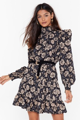 Nasty Gal Womens Floral Frill Mini Dress - Navy