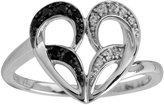 Jessica Simpson 10k White Gold Fashion Heart Ring with Diamond Accent