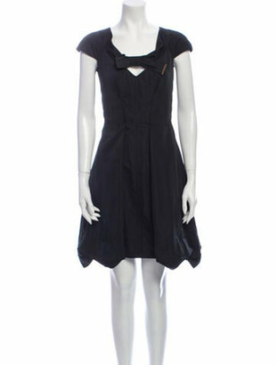 Louis Vuitton Scoop Neck Knee-Length Dress Black