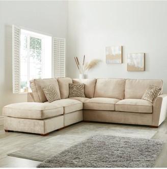 Kingston Fabric Left Hand Standard BackCorner Chaise Sofa with Footstool