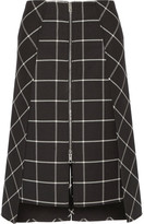 Rag & Bone Sabina Layered Checked Twill Midi Skirt - Black