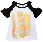 Ten Sixty Sherman Girls Change the World Cold Shoulder Tee (Big Girls)