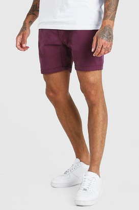 boohoo Mens Red Skinny Fit Chino Short, Red
