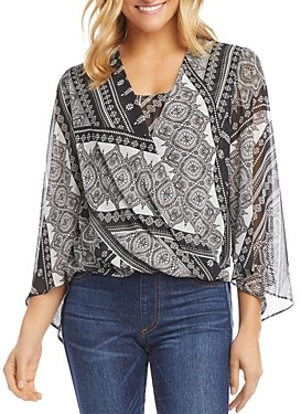 Karen Kane Printed Crossover Top