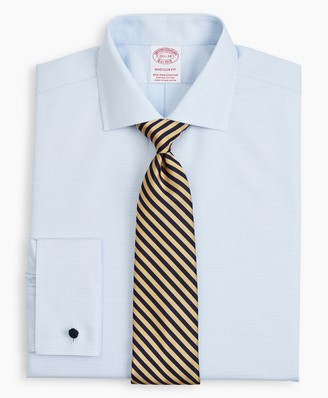 Brooks Brothers Stretch Madison Classic-Fit Dress Shirt, Non-Iron Twill English Collar French Cuff Micro-Check