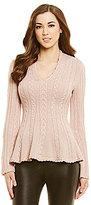 Antonio Melani Addie Cable Knit Peplum Sweater