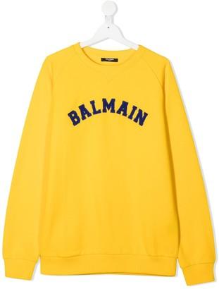 Balmain Kids TEEN logo patch sweatshirt