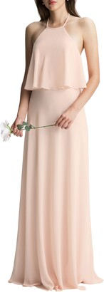 #Levkoff Halter Overlay Chiffon A-Line Gown