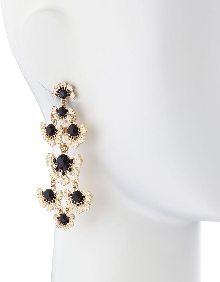 Fragments for Neiman Marcus Two-Tier Chandelier Earrings, Black/White