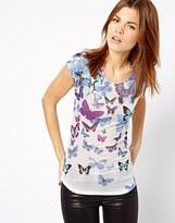 A/Wear A Wear Butterfly Print Shell Top