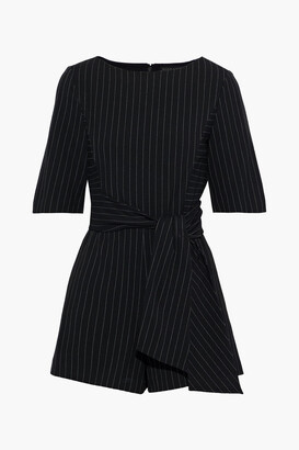 Alice + Olivia Virgil Belted Pinstriped Twill Playsuit