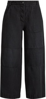 Burberry Washed ramie-blend cropped wide-leg trousers