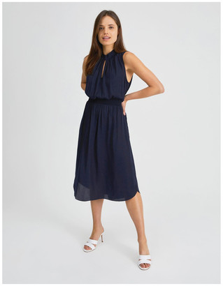 Basque Shirred Waist Midi Dress