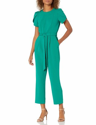 Calvin Klein Women's Cropped Jumpsuit with Tulip Sleeve