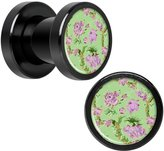 Body Candy Anodized Stainless Steel Mint Green Pink Floral Screw Fit Plug Pair 2 Gauge