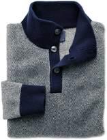 Charles Tyrwhitt Blue Jacquard Button Neck Wool Sweater Size XL