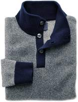 Charles Tyrwhitt Blue Jacquard Button Neck Wool Sweater Size XXL