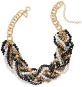 Thalia Sodi Gold-Tone Black and White Beaded Torsade Necklace, Only at Macy's
