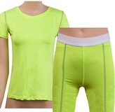 Sanke Women's Yoga Workout Set Shorts + Shirt Fitness Tights