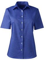 Classic Women's Plus Size Short Sleeve Oxford Shirt-White