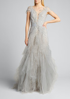 Marchesa Tulle-Draped Lace Gown