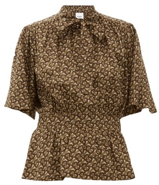 Burberry Monogram-print Silk Blouse - Brown