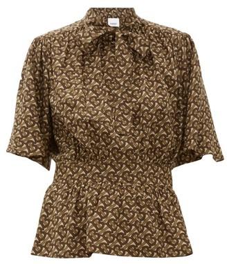 Burberry Monogram-print Silk Blouse - Womens - Brown